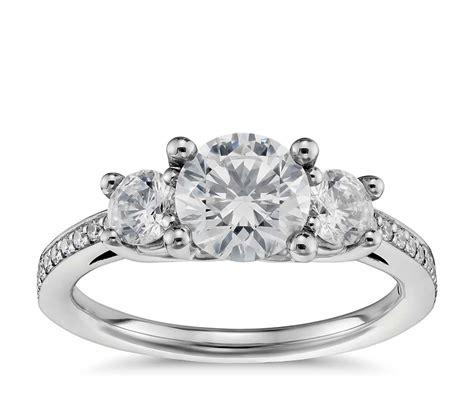 stone pave diamond engagement ring  platinum