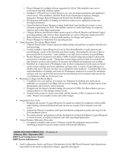 Kronos Implementation Resume by Dave Bernier Resume Ultipro