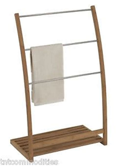 Eco Styles Bamboo Wood Frame Freestanding Towel Rack Stand Bathroom Organizer Floors, Towels