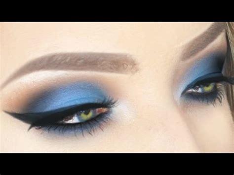 electric blue eyeshadow winged liner  hooded eyes