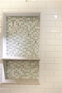 glass tile shower niche bathroom remodel narrow it