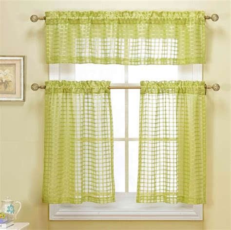 green valance cleo green embroidered checkered 3 pc kitchen tier