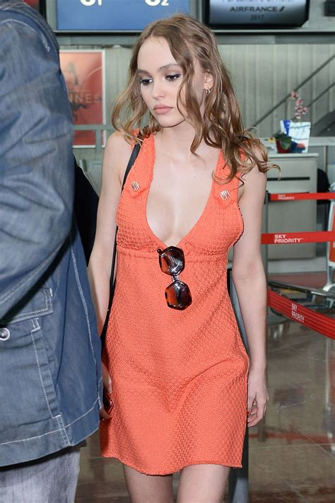 lily rose depp   bright orange dress cannes