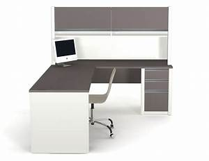 Dark Gray Wooden Desk With L Shape Also Brown Wooden ...