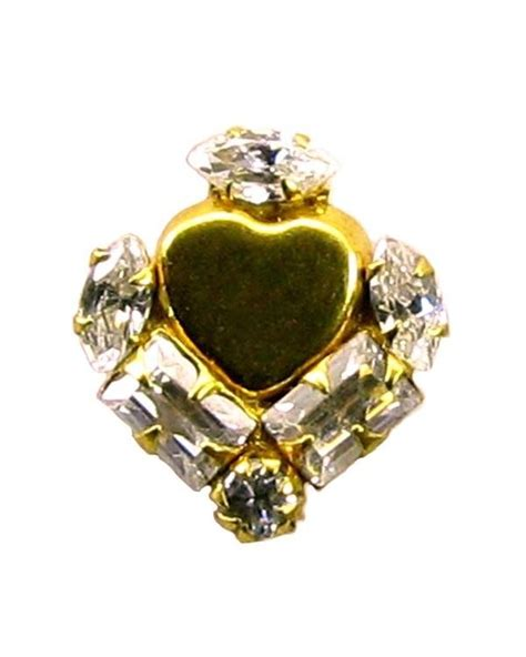 indian style fancy heart designer white cz nose stud pin
