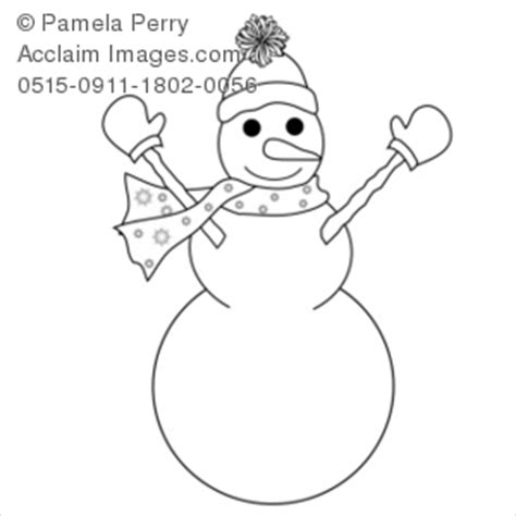 clip art illustration   happy snowman coloring page