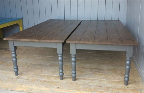 Large Plank Top Kitchen Farmhouse Table With Turned Legs