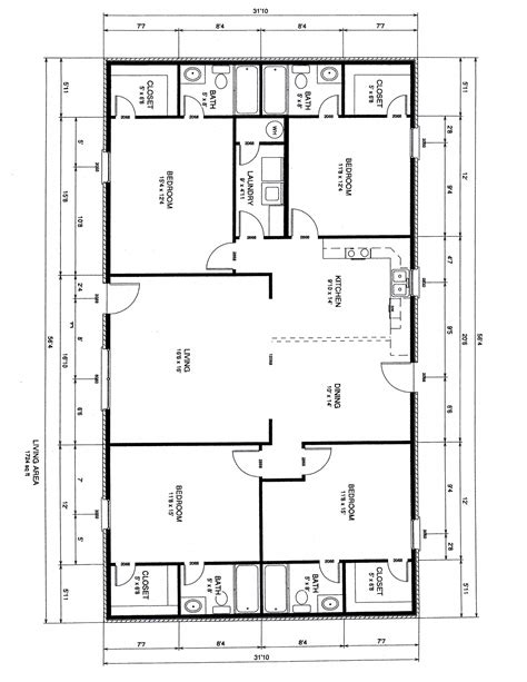 4 bedroom floor plans one story brick home floor plans