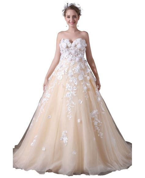 Ball Gown Sweetheart Court Train Tulle Wedding Dress With