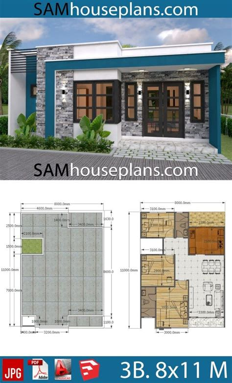 House Plans 8x11 with 3 bedrooms Full Plans Sam House