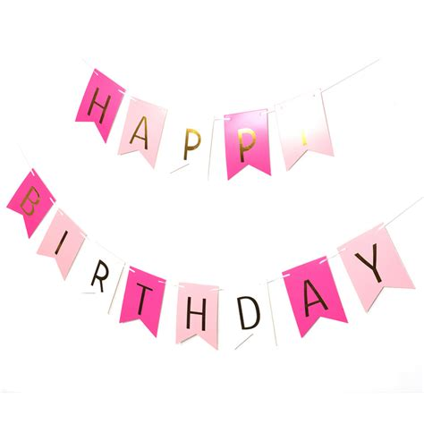 happy birthday banner pink party on