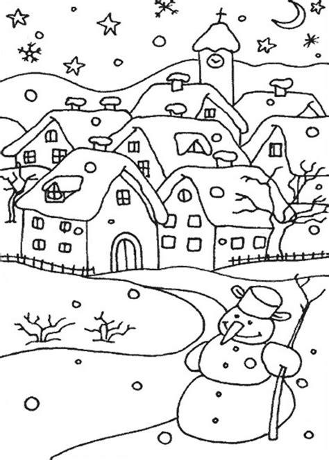 disegni  paesaggi invernali da colorare