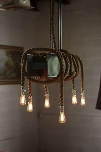 Metal Rope Beam Rustic Industrial Chandelier ID Lights