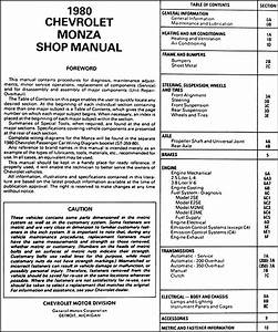1980 Chevy Monza Repair Shop Manual Original