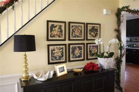 If you have the space, position the table away from the wall, allowing guests to access. I love every piece on the buffet table   Buffet table, Gallery wall, Decor