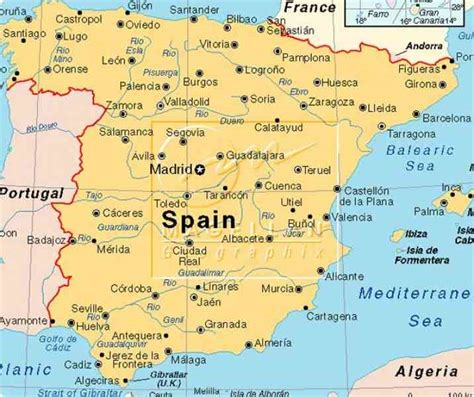 Carte Sud Espagne Portugal by Spain Map South