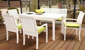 Salon De Jardin Blanc : salon de jardin rallonge en bois massif blanc avec banc et fauteuil ~ Teatrodelosmanantiales.com Idées de Décoration