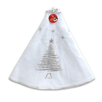 39 5 quot white christmas tree skirt with silver sequin trim