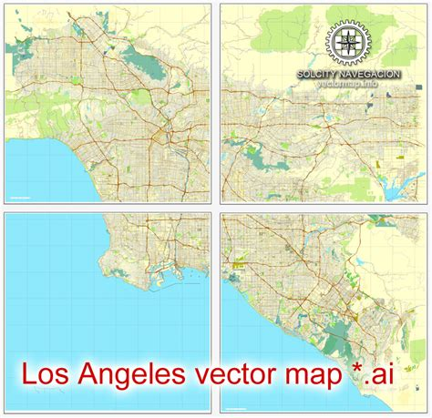 los angeles grande map california  printable vector