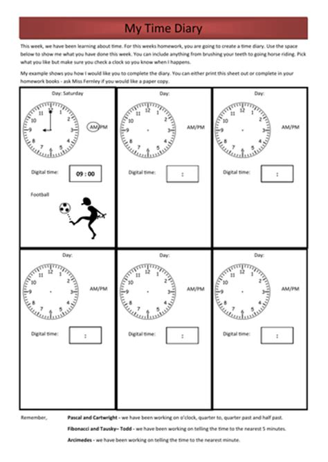 year 3 numeracy homework time diary by rfernley