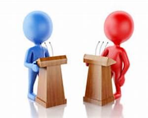 Debate - Two People Speaking Different Opitnions Royalty ...
