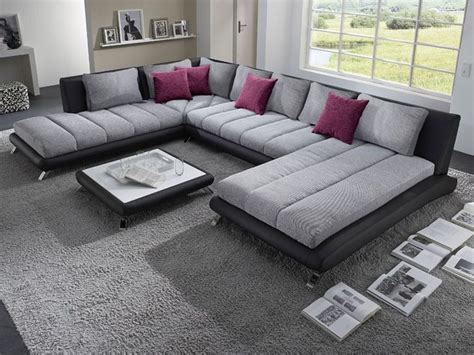 canape cuir italien contemporain canapé d 39 angle panoramique gris et noir luberon 5
