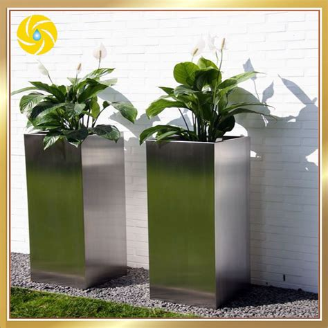 large stainless steel decorative planters outdoor