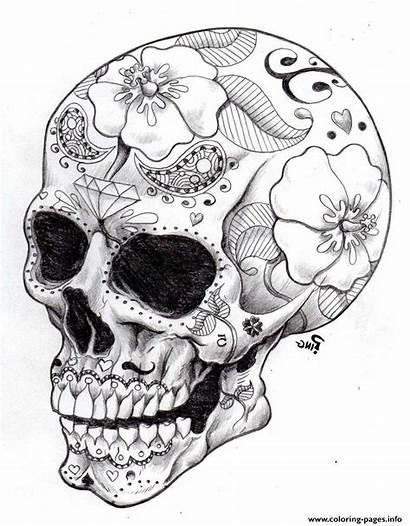 Coloring Pages Skulls Adult Skull Sugar Hard