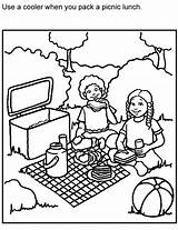 Coloring Picnic Sheets Safe Colouring Safety Clipart Bench Blanket Printable Non Picnics Template Activities Adults Clip Perishable Foods Sketch Kid sketch template