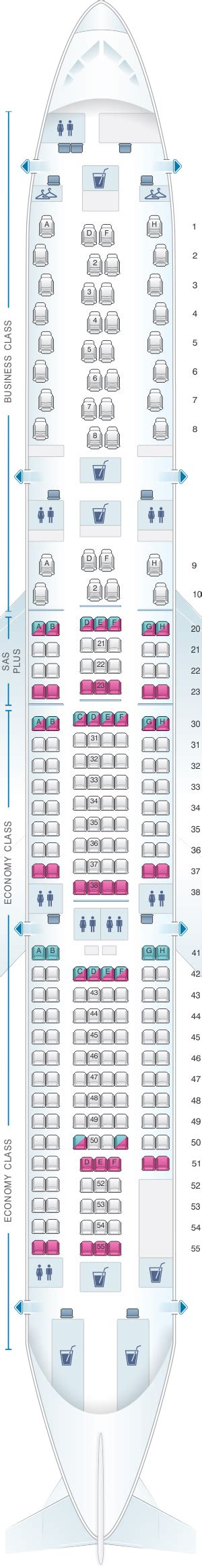 Seat Map Scandinavian Airlines (SAS) Airbus A340 300