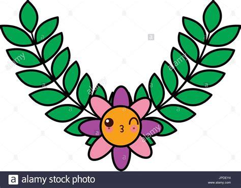 Kawaii Wreath Laurel Flower Decoration Cartoon Stock