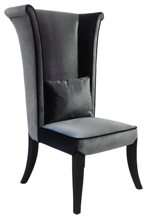 grey velvet high back chair contemporary armchairs and