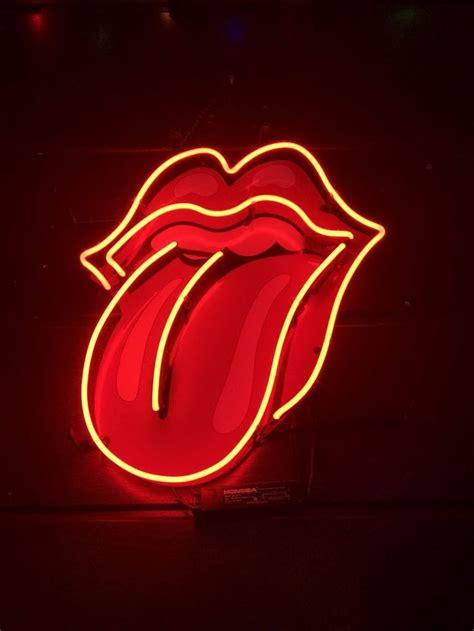 rolling stones tongue logo neon sign neon wallpaper