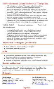 resume template word free download 2016 microsoft recruitment coordinator cv template 2