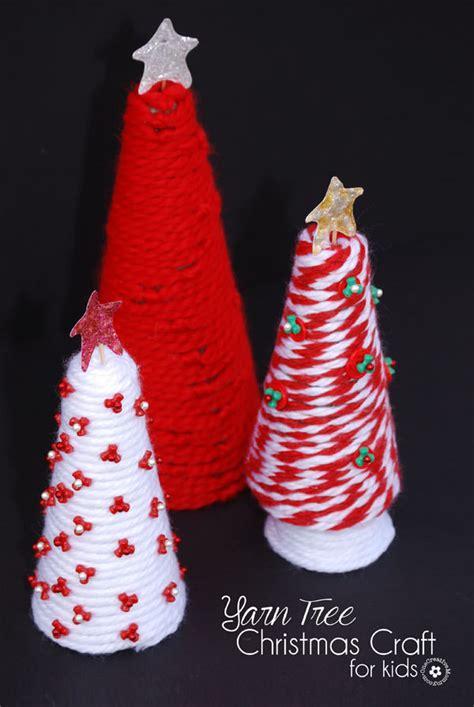 yarn tree christmas craft  kids onecreativemommycom