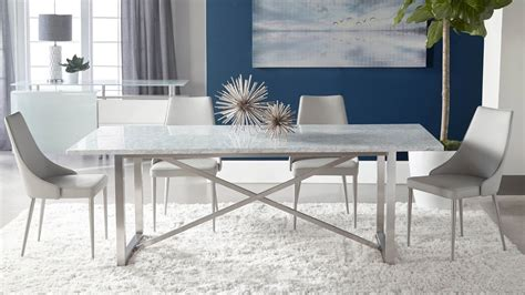 avenza white marble dining table  steel base white