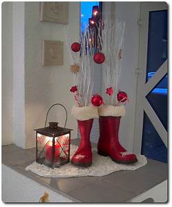 Weihnachtsdeko Für Draussen Selbst Gemacht : weihnachtsdekoration mit gummistiefel ~ Orissabook.com Haus und Dekorationen