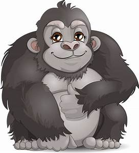 Cartoon clipart gorilla - Pencil and in color cartoon ...