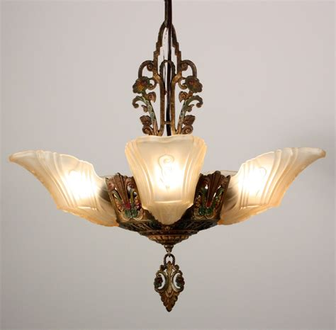 antique five light deco slip shade chandelier