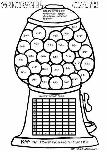 Math Number Addition Subtraction Gumball Coloring Pages
