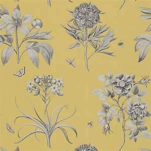 Etchings and Roses Wallpaper - Empire Yellow (DPFWER104