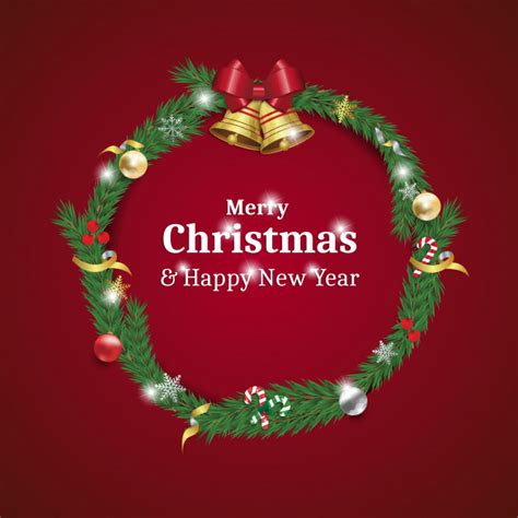 Freesvg.org offers free vector images in svg format with creative commons 0 license (public domain). Merry christmas and happy new year wreath card Vector ...