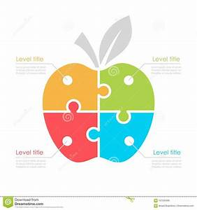 Four Part Diagram With Apple Stock Vector