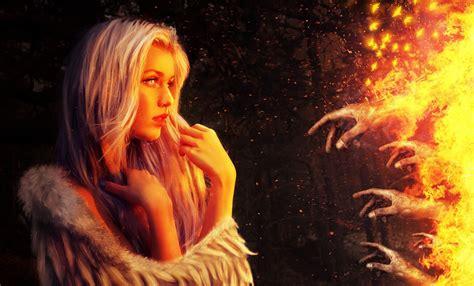 fire hand women artwork fantasy art wallpapers hd