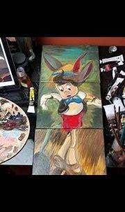 Pinocchio Disney oil painting on Canvas | Pleasure Island ...