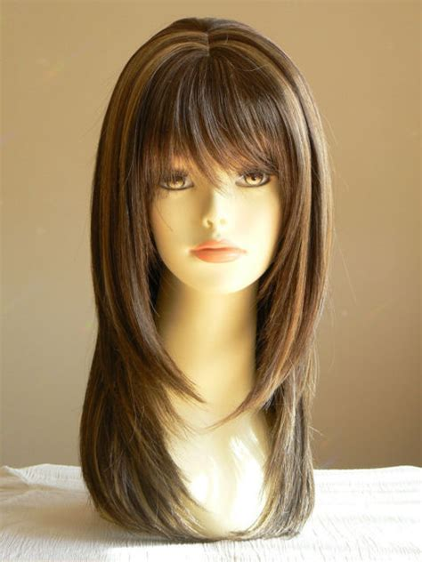 long lady sandy straight medium brown layered wigs salon