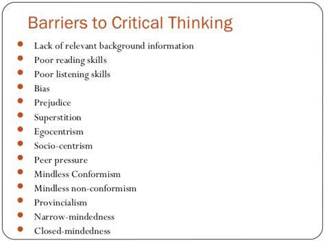 Developing Critical Thinking Skills