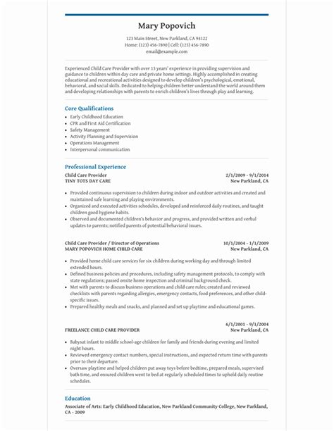 Child Care Provider Resume by Child Care Provider Resume Template For Microsoft Word