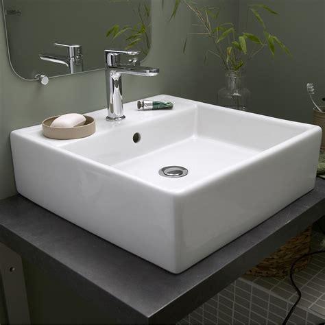 vasque de cuisine vasque à poser céramique l 46 x p 46 cm blanc edge leroy