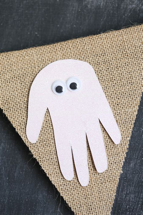 halloween handprint ghost banner  vanessa craft